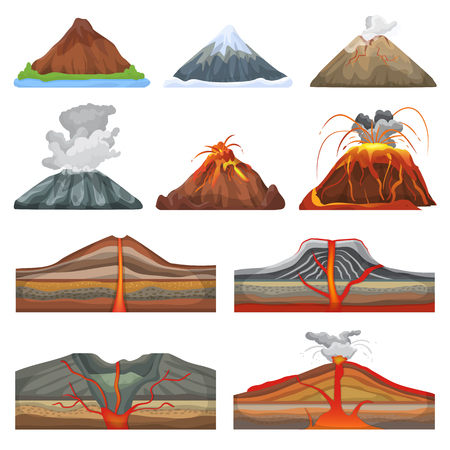 Volcano vector eruption and volcanism or explosion convulsion of nature volcanic in mountains illustration set of volcanology isolated on white background Vectores