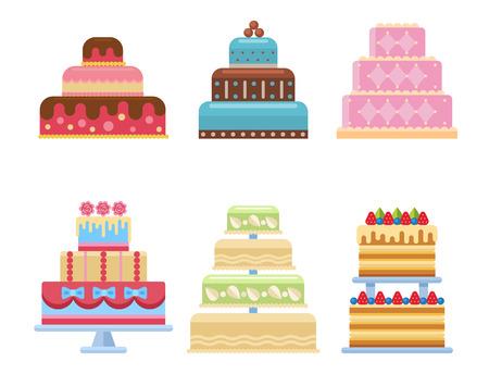 Set of wedding cakes illustration.