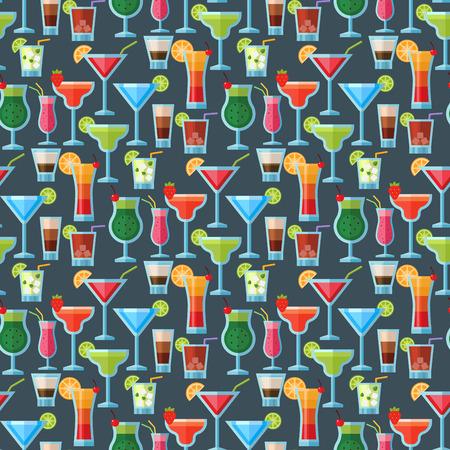 ジュースとカクテルドリンクシームレスなパターンの背景