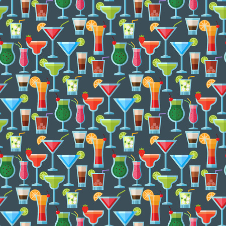 Juice and cocktail drinks seamless pattern background