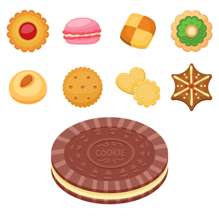 Different cookie cakes top view sweet food tasty snack biscuit sweet dessert vector illustration. 向量圖像