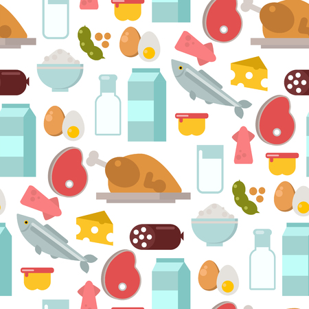 Common food products seamless pattern background Иллюстрация