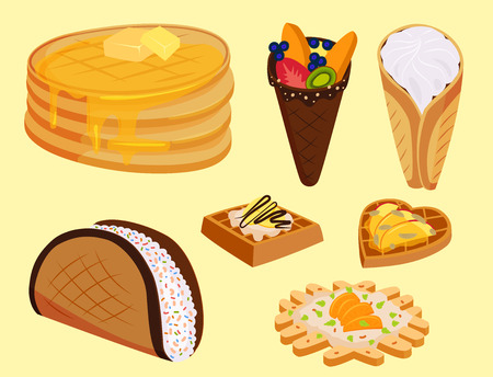 Different wafer cookies waffle cakes pastry cookie biscuit delicious snack cream dessert crispy bakery food vector illustration Stok Fotoğraf - 97810138