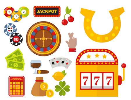 Casino icons set vector illustration.