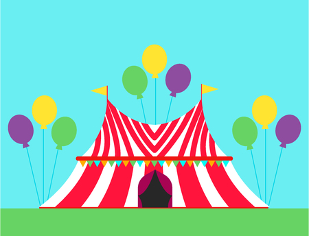 Circus show entertainment tent with stripes flags vector illustration.