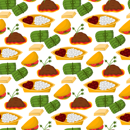 Mexican traditional food with meat and avocado seamless pattern background