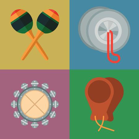 Musical percussion instrument vector illustration set