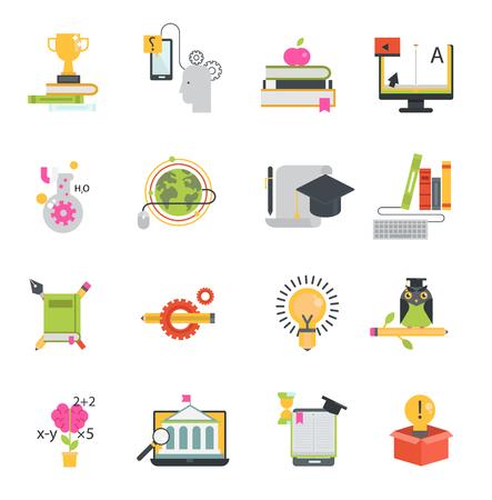 Online education vector icons set distance education school and webinar teamwork symbols. Educational languages school and travel programs online learning illustration Illustration