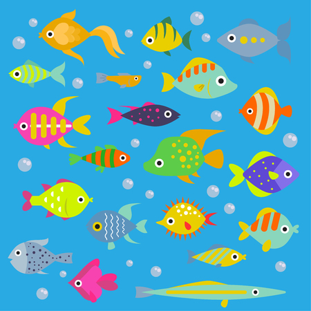 Aquarium flat fish vector ocean breeds underwater bowl tropical aquatic animals water nature pet characters illustration. Beautiful swimfish freshwater nautical seaside decorative icons
