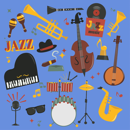 Jazz musical vector instruments tools piano and saxophone music sound illustration of jazzband rock concert note jazz singer entertainment festival music style