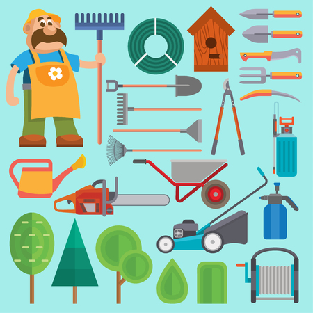 Garden equipment and gardener vector farmer flat set character with beard and rake illustration. Set of agriculture farming tools on white. Spring garden equipment flat set watering green plants