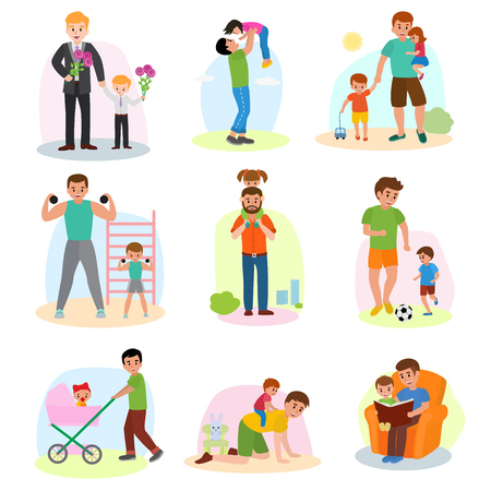 Illustration of Fathers day set. Happy daddy with children isolated on white background Illustration