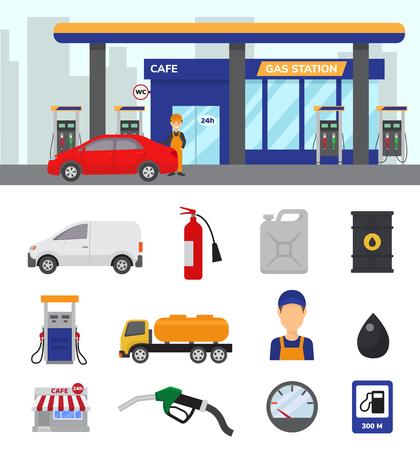 Gas station vector illustration set isolated on white background 일러스트