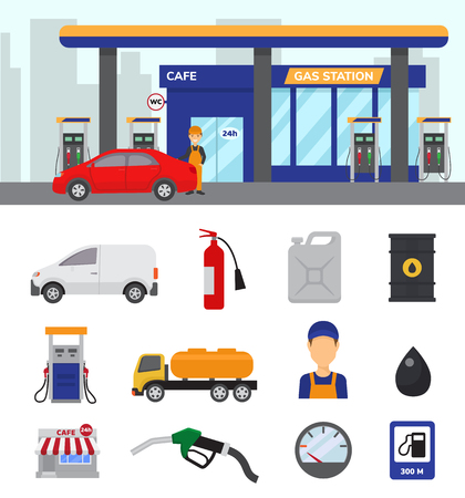 Gas station vector illustration set isolated on white background Stock Illustratie