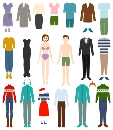 Clothing vector woman or man wearing clothes and female or male fashion accessories illustration set of apparel or garment shopping isolated on white background