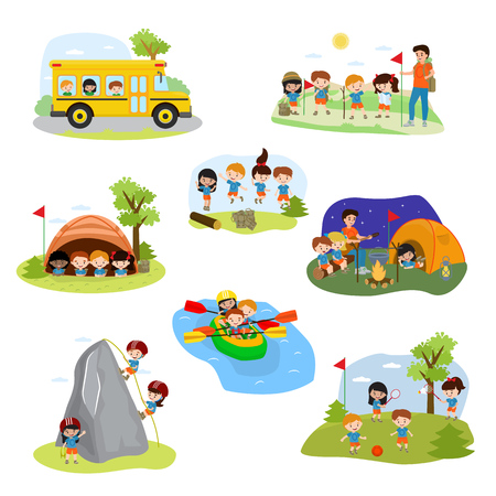 Kids camp vector isolated on white background Çizim
