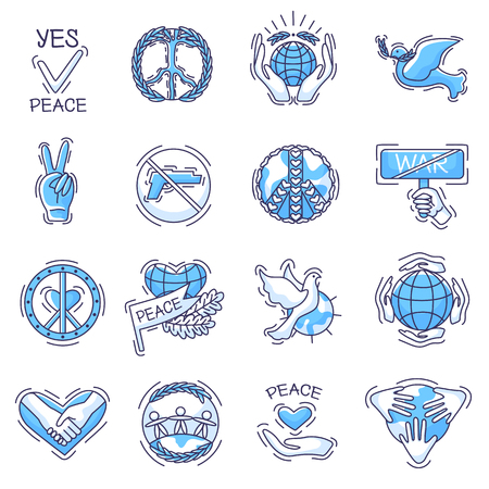 Peace vector peaceful symbol of love and peacefulness or peacekeeping signs illustration set of peaceable icons with world hands and dove isolated on white background
