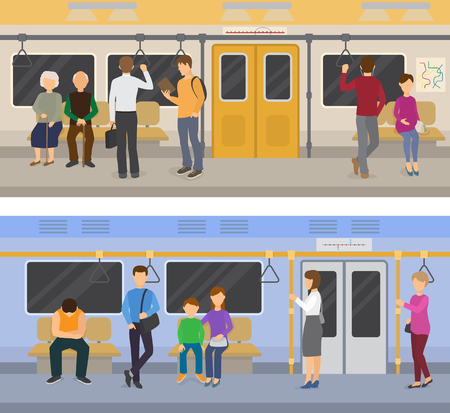 Subway vector people in metro and passengers in underground using urban public transport illustration set of characters inside underpass transportation