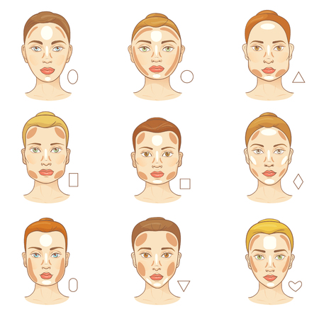 Woman face type vector female character portrait with facial shapes for makeup skintone illustration set of beautiful girls features with cosmetics contour on skin isolated on white background