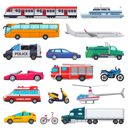Vector de transporte público vehículo transportable avión o tren y coche o bicicleta para el transporte en la ciudad ilustración conjunto de ambulancia bomberos y coche de policía aislado sobre fondo blanco