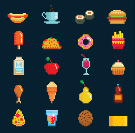 A Vector pixelart fast food icons sign computer game design symbol web graphic fastfood cuisine symbols illustration fast restaurant pixelated elements burger, hot dog, pizza and drinks
