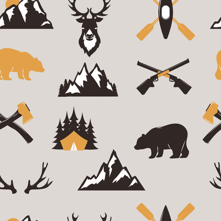 Outdoor travel icon collection seamless pattern background