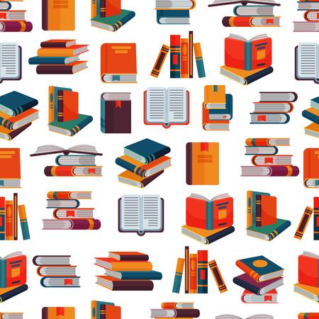 Buchvektorstapel Lehrbücher und Notizbücher auf den Bücherregalen, die Literatur im Bibliotheks- oder Buchhandlungsbucheinband-Illustrationssatz lesen, lokalisierten nahtlosen Musterhintergrund