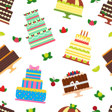 Birthday cake vector cheesecake cupcake for happy birth party baked chocolate cake and dessert from bakery set illustration seamless pattern background