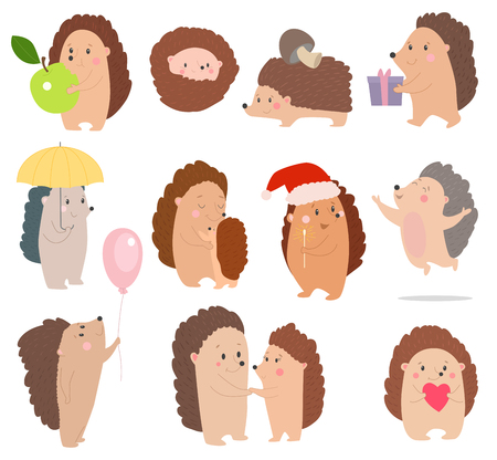 Hedgehog vector cartoon set vector illustration