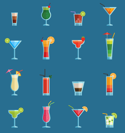 Alcoholic cocktails drinks vector fruit cold cosmopolitan, b-52, mojito, vodka freshness alcohol collection and party sweet tequila night club recipes illustration isolated on green background. Banque d'images - 97403098