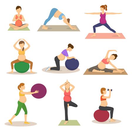 Rutyny fitness dla ilustracji wektorowych kobiety w ciąży Ilustracje wektorowe