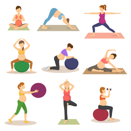 Fitness routine for pregnant woman vector illustration