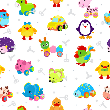 Clockwork toy vector mechanic playroom toyshop key mechanism for kids animal clock work car, train, robot and duck animals seamless pattern background illustration Stockfoto - 97543648