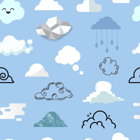 Cloud icons in different style, vector illustration seamless pattern background
