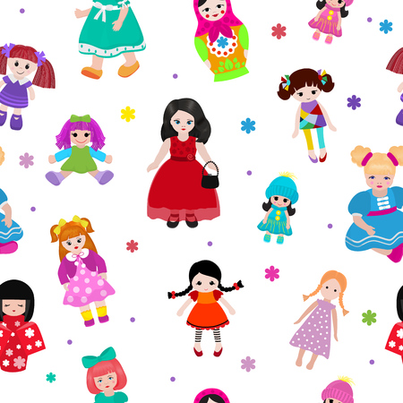 A Vector doll toy cute girl female set illustration childhood baby dress face child beautiful dollhouse children baby toyhouse cartoon isolated seamless pattern background Illustration