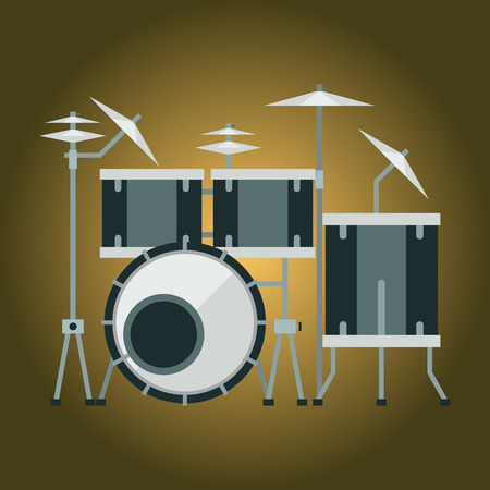 Musical drum kit wood rhythm music instrument series percussion musician performance vector illustration