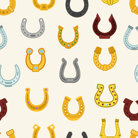 Horseshoe vector luck horse hoof shoe lucky symbol fortune talisman icons animal leg illustration seamless pattern background
