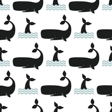 Vector whale illustration seamless pattern humpback ocean marine mammal wildlife aquatic animal character. Illustration