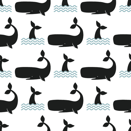 Vector whale illustration seamless pattern humpback ocean marine mammal wildlife aquatic animal character. Ilustração