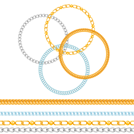 Cadenas enlace fuerza conexión vector de patrones sin fisuras de partes metálicas vinculadas y protección de equipos de hierro signo fuerte fondo de diseño brillante.