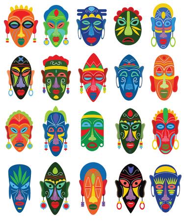 Máscara tribal vector mascarilla africana y enmascarar la cultura étnica en África ilustración conjunto de símbolo tradicional enmascarado aislado sobre fondo blanco Ilustración de vector