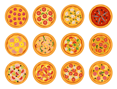 Pizza vector italian food with cheese and tomato in pizzeria or pizzahouse illustration set of baked pie in Italy isolated on white background
