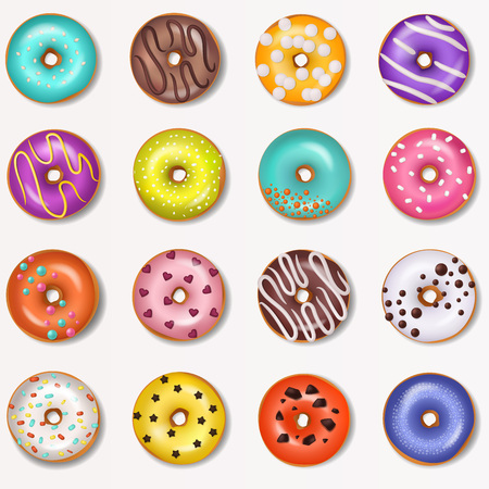 Donut vector doughnut food and glazed sweet dessert with sugar or chocolate in bakery illustration set of colorful backed dough with icing isolated on white background