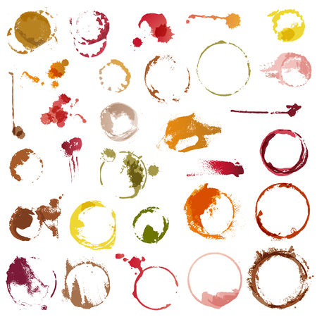 Drink stains vector staining circles of coffee cup or wine glass illustration set of stained liquid drops on paper isolated on white background