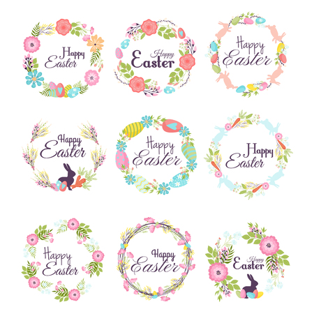Happy easter hand drawn badge hand lettering greeting decoration natural wreath spring flower vector illustration