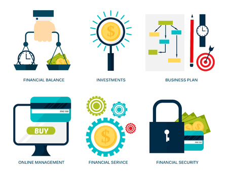 Banking money financial services set credit sign development online accumulation bank investment management finance vector illustration. 写真素材 - 97499898