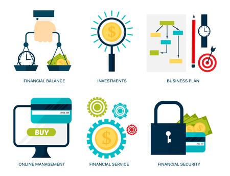 Banking money financial services set credit sign development online accumulation bank investment management finance vector illustration. Vectores