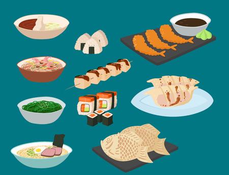 Japon vecteur repas traditionnel repas repas cuisine sushi et fruits de mer japonais cuisine japonaise illustration Banque d'images - 97499899