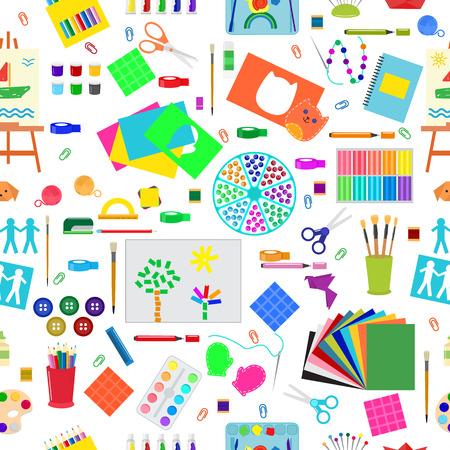 Kids creativity creation symbols artistic objects for children creativity handmade work art vector illustration seamless pattern background Illustration