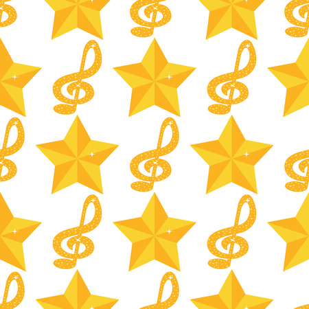 Vector music note melody symbols seamless pattern background vector illustration waves sound graphic clef signature. 스톡 콘텐츠 - 97499903